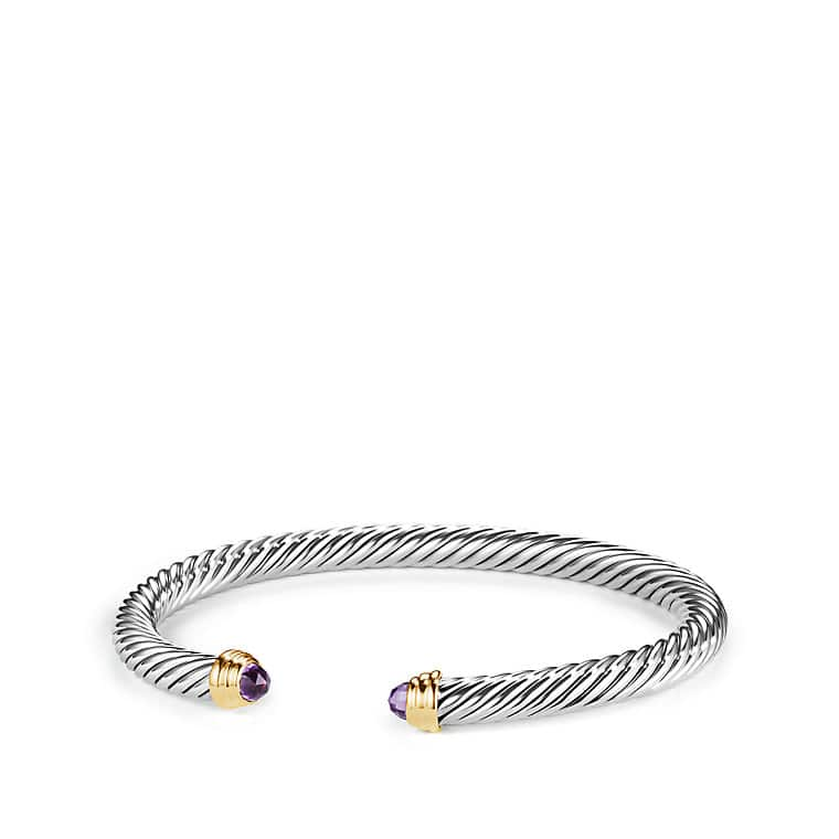 Cable Classics® Bracelet with Amethyst and 14K Gold, 5mm