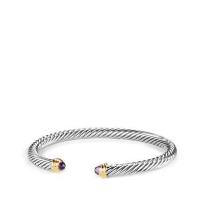 Cable Classics Bracelet with Amethyst and 14K Gold, 5mm