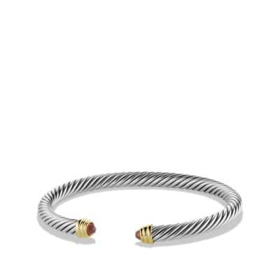 Cable Classics Bracelet with Garnet and 14K Gold, 5mm