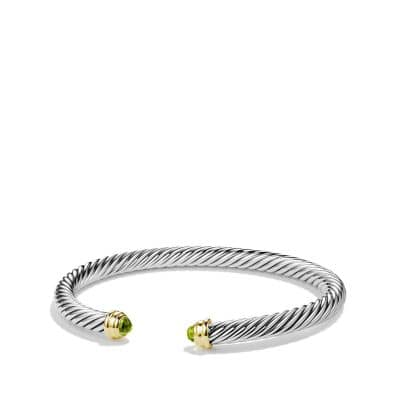 Cable Classics Bracelet with Peridot and 14K Gold, 5mm