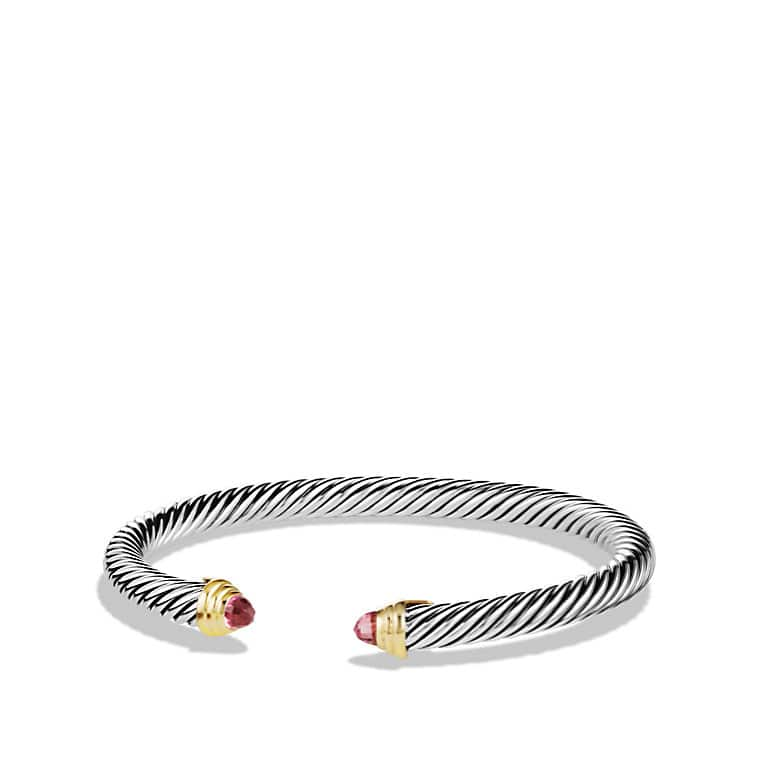 Cable Classics Bracelet with Pink Tourmaline and 14K Gold