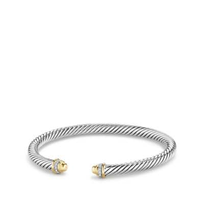 Cable Classics Bracelet with Diamonds and 18K Gold, 5mm
