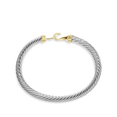 Cable Classic Buckle Bracelet with 14K Gold, 5mm