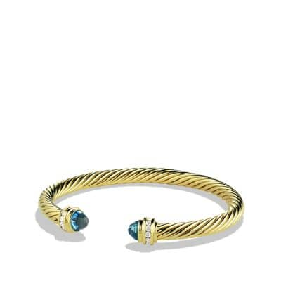 Bracelet with Blue Topaz and Diamonds in 18K Gold