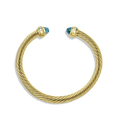 Cable Classics Bracelet with Blue Topaz and Diamonds in 18K Gold, 5mm