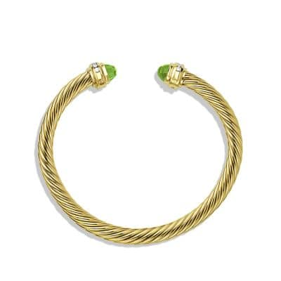 Cable Classic Bracelet with Peridot and Diamonds in 18K Gold, 5mm