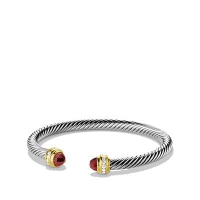 Cable Classics Bracelet with Garnet, Diamonds and 18K Gold, 5mm
