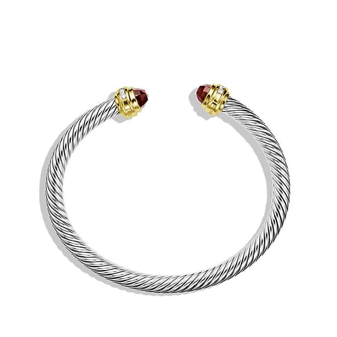 Cable Classics Bracelet with Garnet, Diamonds, and 18K Gold, 5mm