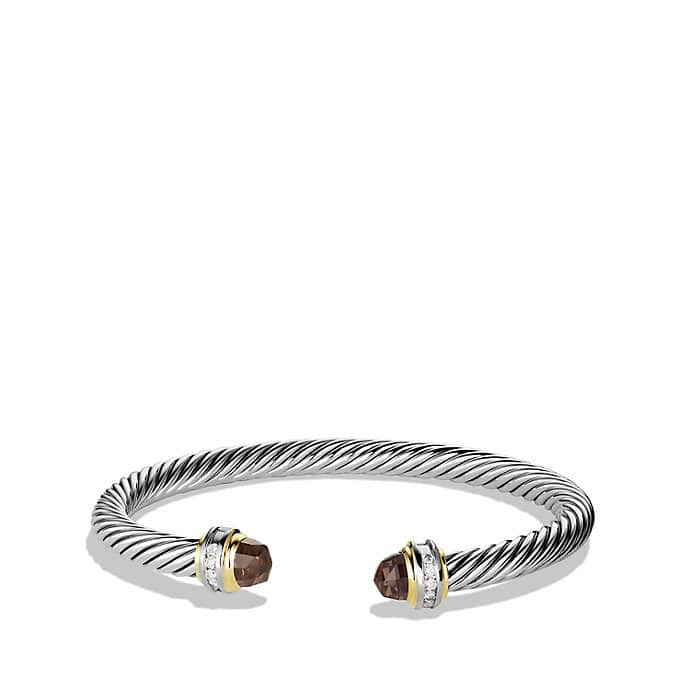 Cable Classics Bracelet with Smoky Quartz and Diamonds with Gold