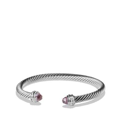 Cable Classics Bracelet with Lavender Amethyst and Diamonds, 5mm