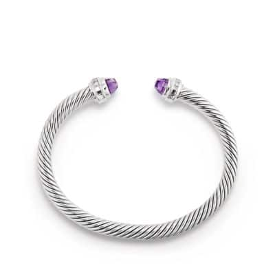 Cable Classics Bracelet with Amethyst and Diamonds, 5mm