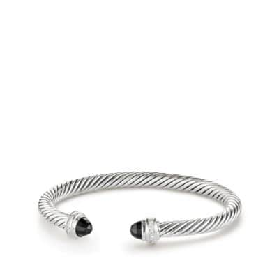 Cable Classics Bracelet with Black Onyx and Diamonds, 5mm