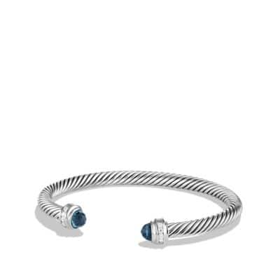 Cable Classics Bracelet with Hampton Blue Topaz and Diamonds, 5mm