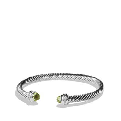Cable Classics Bracelet with Peridot and Diamonds, 5mm