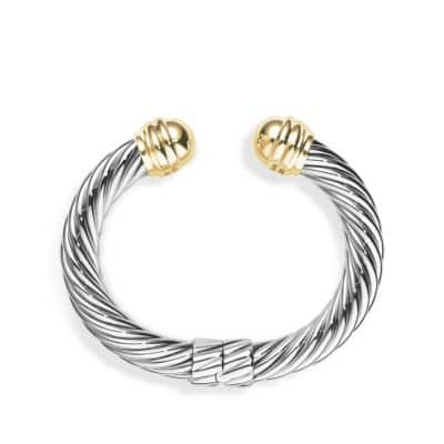 Cable Classics Bracelet with Gold Domes, 10mm
