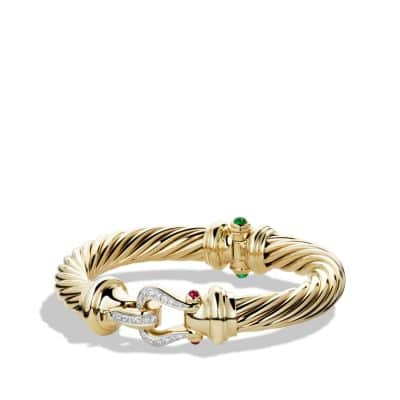Cable Classic Buckle Bracelet with Emerald, Ruby and Diamonds in 18K Gold