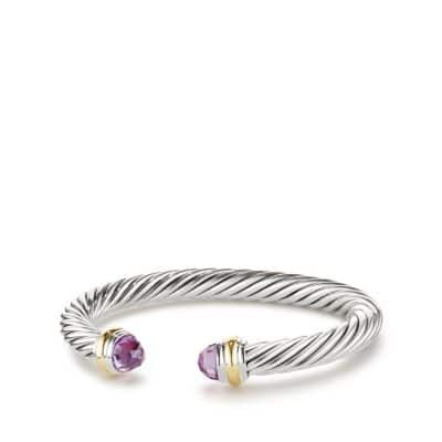 Cable Classics Bracelet with Amethyst and 14K Gold, 7mm