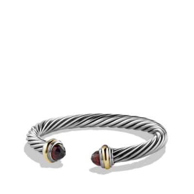 Cable Classics Bracelet with Garnet and 14K Gold, 7mm