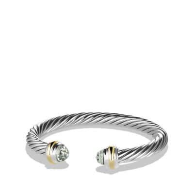 Cable Classics Bracelet with Prasiolite and 14K Gold, 7mm