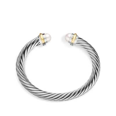 Cable Classics Bracelet with Pearl and 14K Gold, 7mm