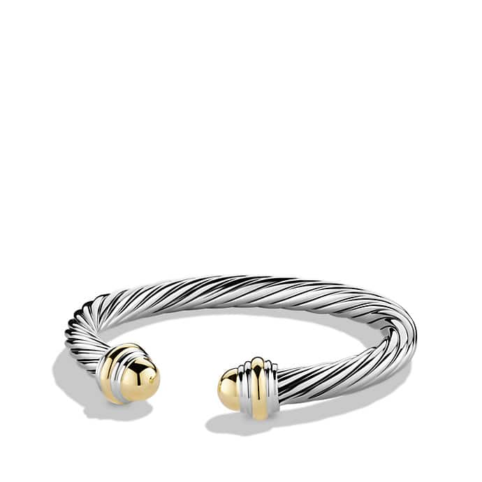 Cable Classic Bracelet with 14K Gold, 7mm