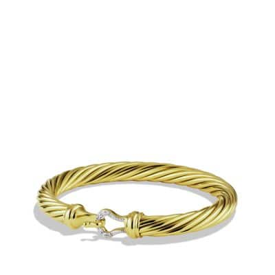 Cable Classic Buckle Bracelet with Diamonds and 18K Gold, 7mm