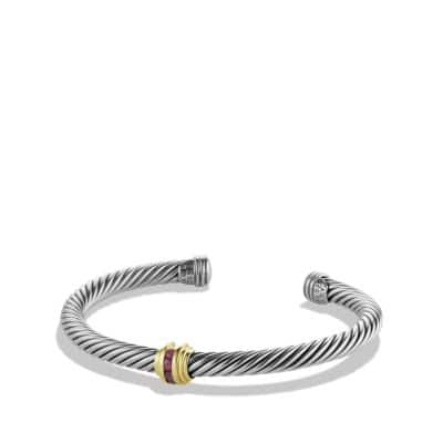 Cable Classics Single-Station Bracelet with Rubies and Gold