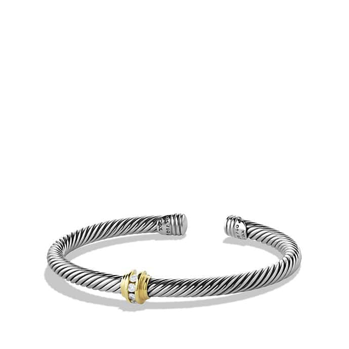 Cable Classics Single-Station Bracelet with Diamonds and Gold