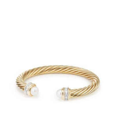 Cable Classics Bracelet with Pearls and Diamonds in 18K Gold