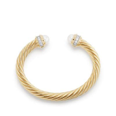 Cable Classics Bracelet with Pearls and Diamonds in 18K Gold, 7mm