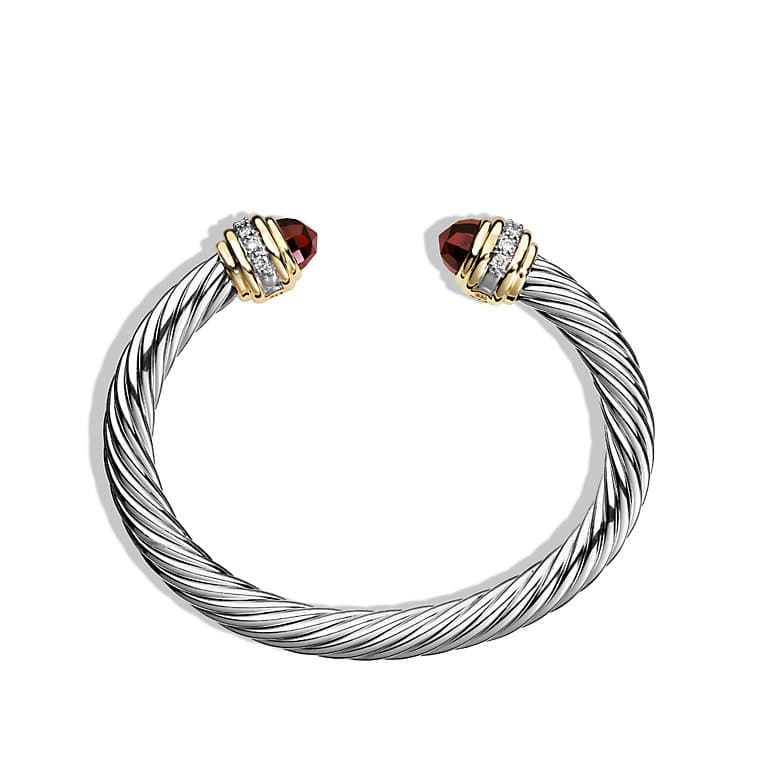 Cable Classics Bracelet with Garnet, Diamonds and Gold