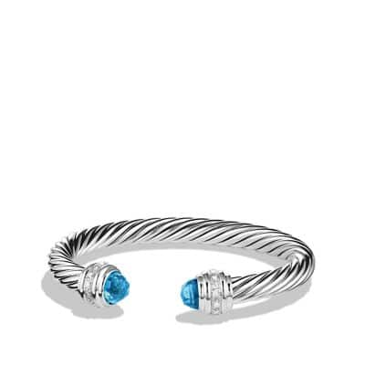 Cable Classics Bracelet with Blue Topaz and Diamonds, 7mm