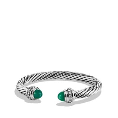 Cable Classics Bracelet with Green Onyx and Diamonds