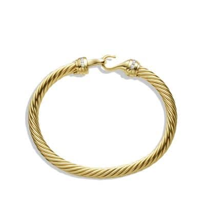 Cable Classic Buckle Bracelet with Diamonds in 18K Gold, 5mm