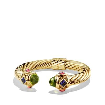 Renaissance Bracelet with Peridot and Tanzanite in 18K Gold, 10mm