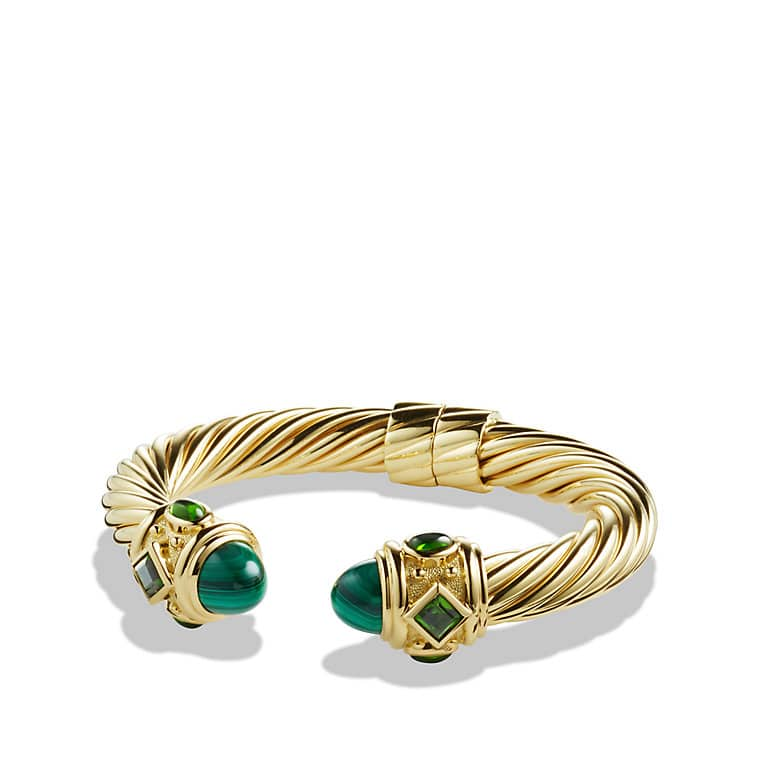 Renaissance Bracelet with Malachite and Green/Chrome Diopside in 18K Gold, 10mm