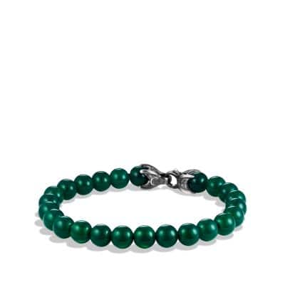 Spiritual Beads Bracelet with Green Onyx, 8mm