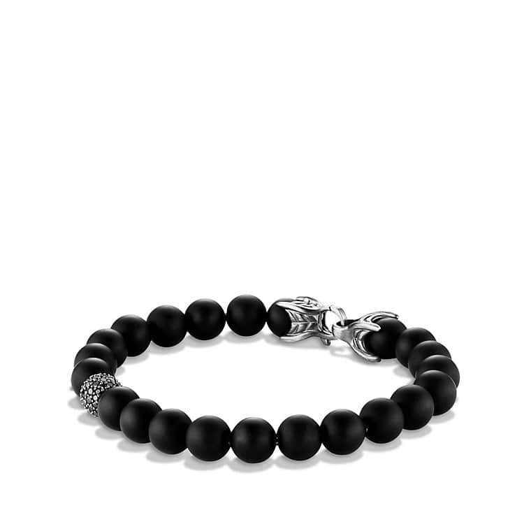 David Yurman Spiritual Beads black onyx and silver skull bracelet