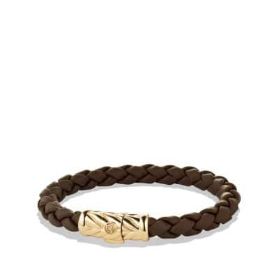 Chevron Rubber Weave Bracelet with 18K Gold, 8mm