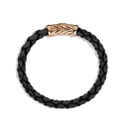 Chevron Rubber Weave Bracelet in Black with 18K Rose Gold, 8mm