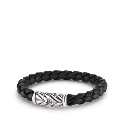 Chevron Rubber Weave Bracelet in Black, 8mm