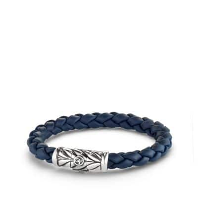 Chevron Rubber Weave Bracelet in Blue, 8mm
