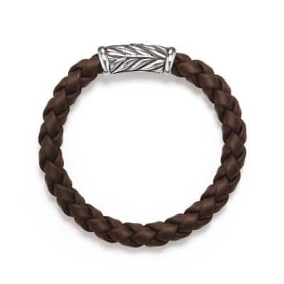 Chevron Rubber Weave Bracelet in Brown, 8mm