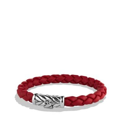 Chevron Rubber Weave Bracelet in Red, 8mm