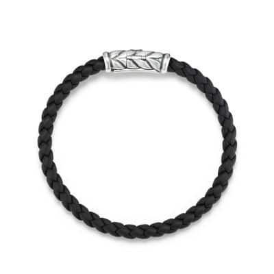 Chevron Woven Rubber Bracelet in Black, 6mm