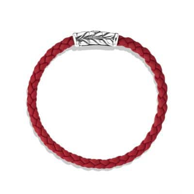 Chevron Woven Rubber Bracelet in Red, 6mm