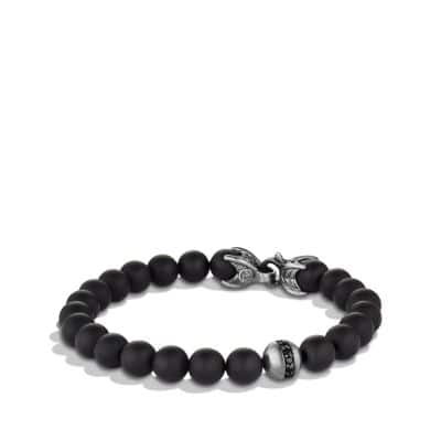 Spiritual Beads Bracelet with Black Onyx and Black Diamonds, 8mm