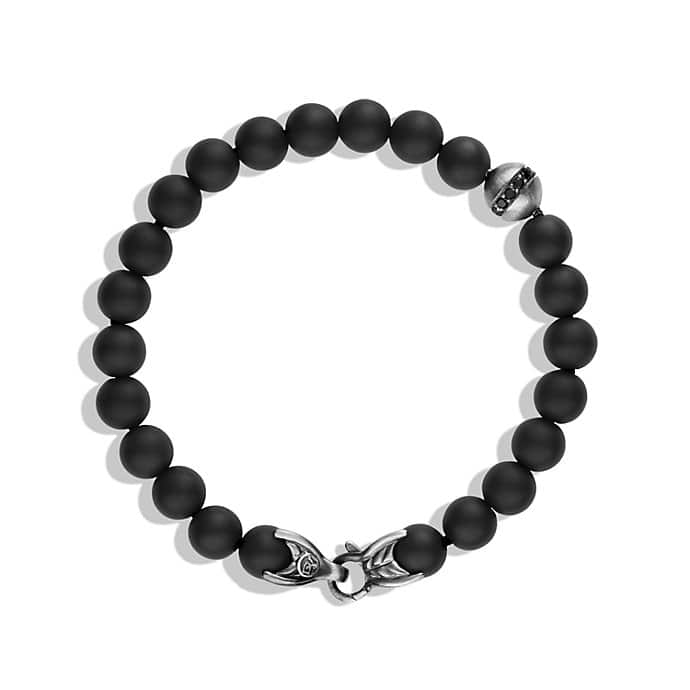 Spiritual Beads Bracelet with Black Onyx and Black Diamonds