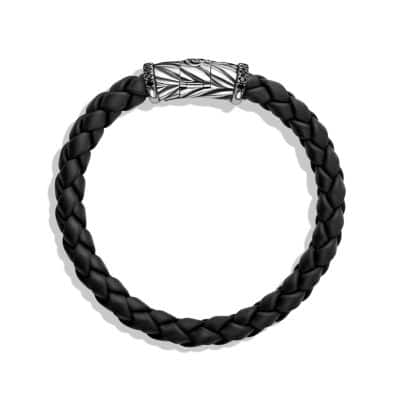 Chevron Woven Rubber Bracelet in Black with Black Diamonds, 8mm