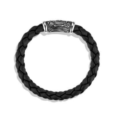 Waves Woven Rubber Bracelet in Black, 8mm
